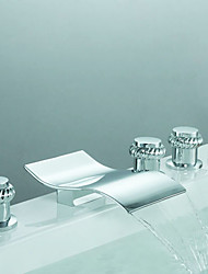 Contemporary Roman Tub Waterfall / Widespread / Handshower Included with  Ceramic Valve Three Handles Five Holes for  Chrome , Bathtub