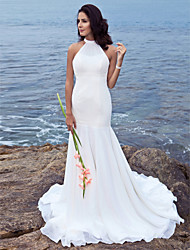 cheap -Mermaid / Trumpet Halter Sweep / Brush Train Chiffon Custom Wedding Dresses with Beading by LAN TING BRIDE®