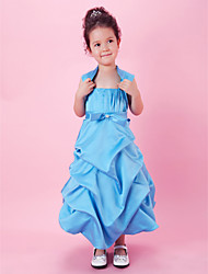 A-Line Ball Gown Tea Length Flower Girl Dress - Satin Sleeveless Spaghetti Straps with Draping by LAN TING BRIDE®
