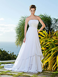 cheap -Sheath / Column Strapless Chapel Train Chiffon Made-To-Measure Wedding Dresses with Beading by LAN TING BRIDE® / Open Back