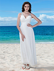 A-Line V-neck Floor Length Chiffon Wedding Dress with Beading Button Criss-Cross Ruche by LAN TING BRIDE®