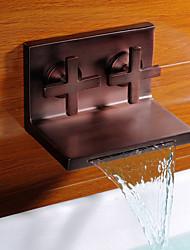abordables -l'huile antique bronze huilé robinet d'évier cascade salle de bains