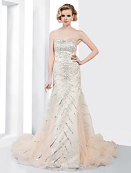 Mermaid / Trumpet Strapless Sweetheart Court Train Organza Formal Evening Dress with Beading Draping Sequins by TS Couture®