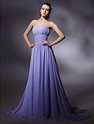 cheap -Sheath / Column Strapless Sweep / Brush Train Chiffon Formal Evening / Military Ball Dress with Beading by TS Couture®