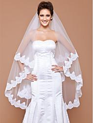 Uma Camada Borda com aplicação de Renda Véus de Noiva Véu Ponta dos Dedos Com 102,36 em (260 centímetros) Tule Linha-A, Vestido de Baile,