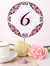 cheap -Round Table Number Card - Peony