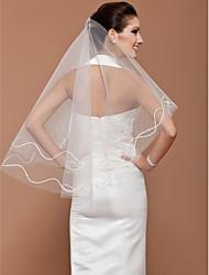 Veli da sposa 1 strato Velo medio (ai fianchi) Bordo tagliato 47.24 in (120cm) Tulle Bianco Avorio Adatto a tutti gli stili