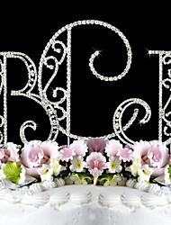 cheap -Cake Topper Garden Theme Monogram Classic Couple Wedding Anniversary Birthday Bridal Shower Quinceañera & Sweet Sixteen with Rhinestone