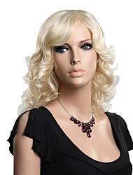 capless høj kvalitet syntetisk medium længde blond mode bølget paryk