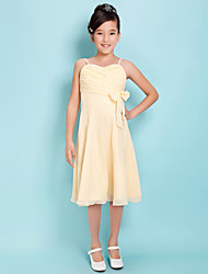 cheap -A-Line Spaghetti Straps Sweetheart Knee Length Chiffon Junior Bridesmaid Dress with Bow by LAN TING BRIDE®