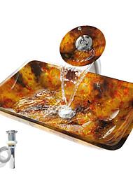 Недорогие -Современный Прямоугольный Раковина Материал является Закаленное стекло монтажное кольцо для ванной водосток для кухни