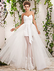 cheap -A-Line Princess Sweetheart Floor Length Tulle Custom Wedding Dresses with Appliques by LAN TING BRIDE®