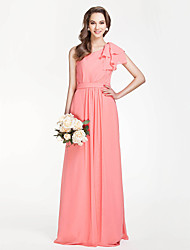 Sheath / Column One Shoulder Floor Length Chiffon Bridesmaid Dress with Draping Sash / Ribbon Side Draping by LAN TING BRIDE®
