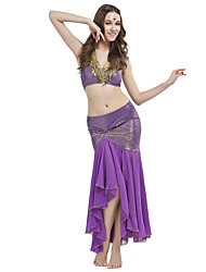 cheap -Belly Dance Outfits Women's Training Crystal Cotton Beading Sleeveless Dropped