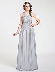 cheap -A-Line Princess Halter Floor Length Chiffon Bridesmaid Dress with Draping Criss Cross Side Draping by LAN TING BRIDE®