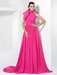 A-Line Princess High Neck Court Train Chiffon Formal Evening Dress with Bow(s) Sash / Ribbon Side Draping by TS Couture®