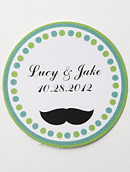 cheap -Personalized Round Favor Stickers – Mustache (Set of 36) Wedding Invitations