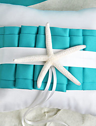 Beach Themed Blue Wedding Ring Pillow with Starfish Wedding Ceremony