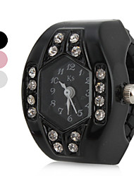 cheap -Women's Ring Watch Japanese Quartz Imitation Diamond Band Analog Sparkle Black / White / Pink - White Black Pink