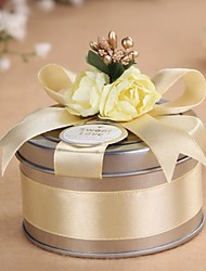 cheap -Cylinder Metal Favor Holder with Ribbons Favor Boxes Favor Tins and Pails