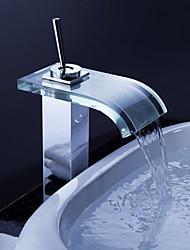 abordables -contemporaine robinet cascade salle de bain avec bec et verre de vidage