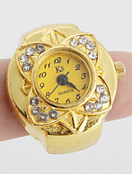 cheap -Women's Ring Watch Japanese Quartz Casual Watch Alloy Band Flower Vintage Gold - Gold One Year Battery Life / SSUO SR626SW