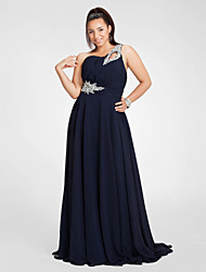 Sheath / Column One Shoulder Floor Length Chiffon Prom Dress with Beading by TS Couture®