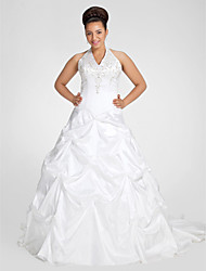 cheap -Ball Gown V-neck Chapel Train Taffeta Wedding Dress with Beading Embroidered Pick-Up by LAN TING BRIDE®