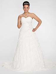 A-Line Princess Sweetheart Chapel Train Chiffon Wedding Dress with Beading Appliques Criss-Cross Ruche by LAN TING BRIDE®