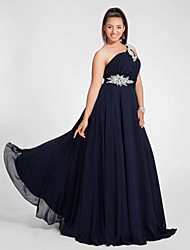 cheap -A-Line One Shoulder Sweep / Brush Train Chiffon Open Back Prom / Formal Evening Dress with Beading / Ruched by TS Couture®