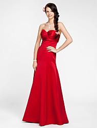 cheap -A-Line / Princess Strapless / Sweetheart Neckline Floor Length Satin Bridesmaid Dress with Sash / Ribbon / Criss Cross by LAN TING BRIDE®