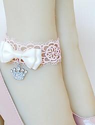 abordables -Hecho a mano de encaje rosa Colgante Crown Princess Tobillera con Arco