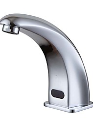 Moderna Conjunto Central Toque/ Sem Toque Válvula Cerâmica Uma Abertura Mãos livres Uma Abertura Cromado , Torneira pia do banheiro