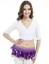cheap -Belly Dance Tops Women's Training Crystal Cotton Half Sleeves