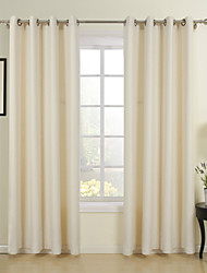 cheap -Two Panels Curtain Neoclassical , Solid Dining Room Poly / Cotton Blend Material Curtains Drapes Home Decoration For Window