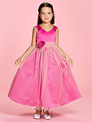 cheap -A-Line / Princess Ankle Length Flower Girl Dress - Satin / Tulle Sleeveless V Neck / Straps with Ruched / Flower by LAN TING BRIDE® / Spring / Summer / Fall / First Communion / Wedding Party