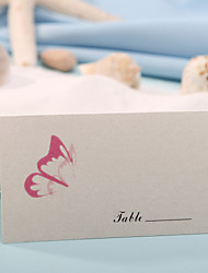 sted kort og holdere bordkort - pink sommerfugl (sæt af 12)