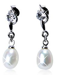 abordables -Elegante plata de ley pendientes de perlas frescas con Crystal