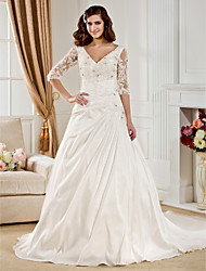 cheap -Ball Gown V Neck Chapel Train Taffeta Wedding Dress with Beading Appliques Ruched by LAN TING BRIDE®