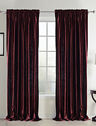 cheap -Rod Pocket Grommet Top Tab Top Double Pleat Two Panels Curtain Neoclassical Solid Bedroom Polyester Material Curtains Drapes Home
