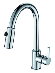 Traditional Pull-out/­Pull-down Deck Mounted Pullout Spray Ceramic Valve One Hole Single Handle One Hole Chrome , Kitchen faucet