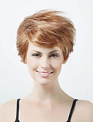 olcso -Nyitott rövid, magas minőségű szintetikus természetes megjelenést aranybarna, fehér, egyenes haj paróka