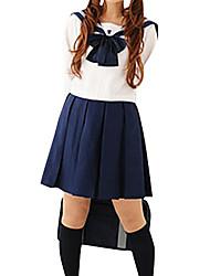 Menina bonito azul e branco de poliéster Uniforme Escolar (2 Unidades)