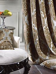 baratos -Barra no Interior Anéis Presilhas Duplo Plissado Dois Painéis Tratamento janela Rococó , Jacquard Quarto 55% Algodão Chenilhe/45% Rayon