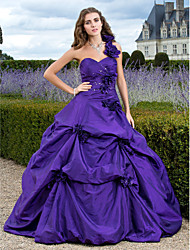 cheap -Ball Gown Princess One Shoulder Floor Length Taffeta Formal Evening / Quinceanera Dress with Flower Criss Cross by TS Couture®