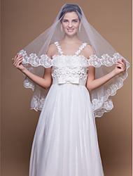cheap -One-tier Lace Applique Edge Wedding Veil Elbow Veils 53 Appliques 59.06 in (150cm) Tulle A-line, Ball Gown, Princess, Sheath/ Column,