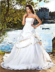 Ball Gown Strapless Chapel Train Satin Wedding Dress with Beading Appliques Bow Pick-Up by LAN TING BRIDE®