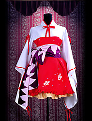 cheap -Inspired by Vocaloid Hatsune Miku Video Game Cosplay Costumes Cosplay Suits / Kimono Patchwork Long Sleeve Dress / Belt Halloween Costumes / Satin