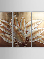 Hand-Painted Floral/Botanical Three Panels Canvas Oil Painting For Home Decoration
