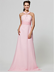 cheap -A-Line / Princess Straps Floor Length Chiffon Bridesmaid Dress with Draping / Ruched by LAN TING BRIDE®